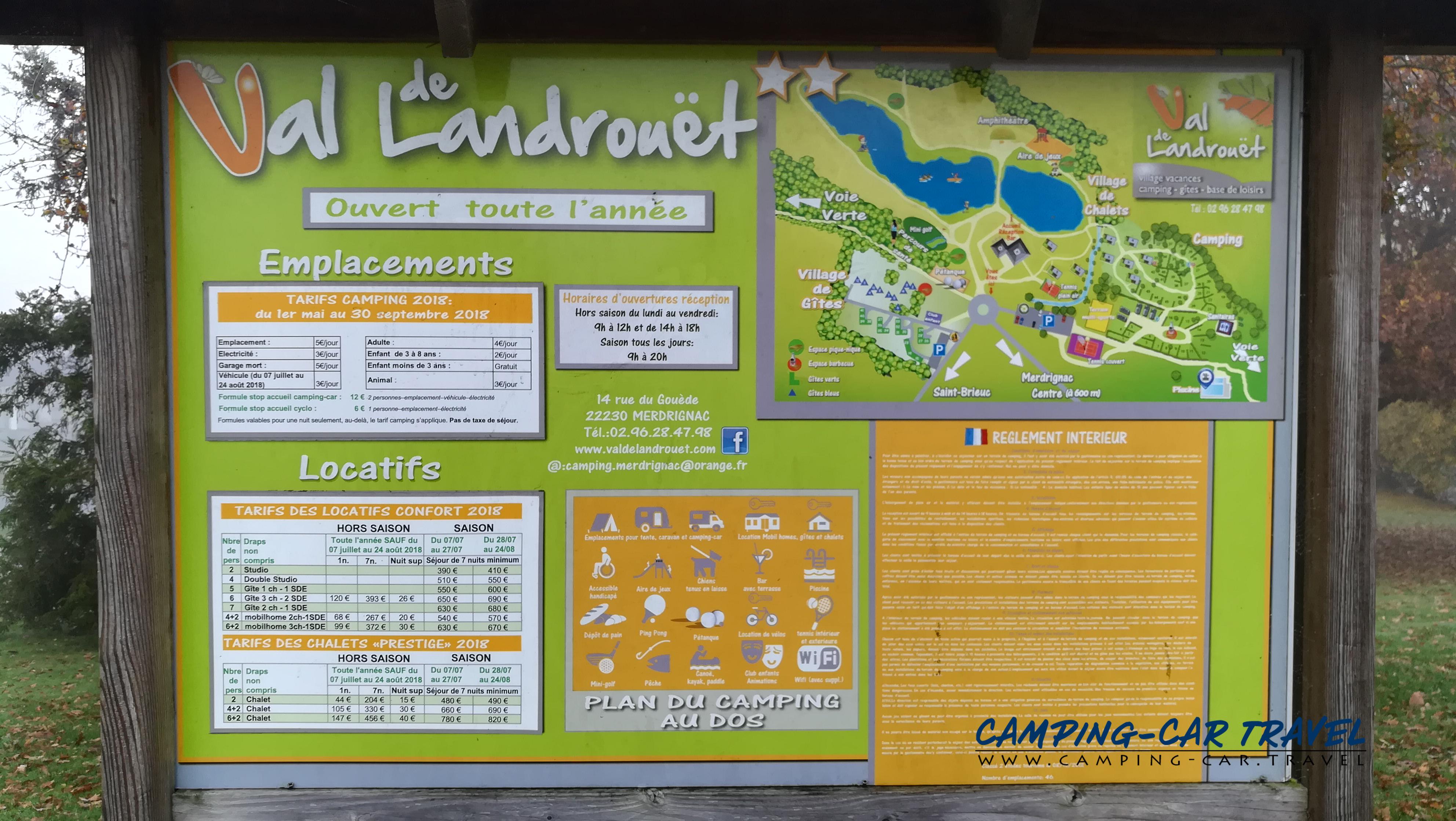 aire services camping car Merdrignac Côtes-d'Armor Bretagne