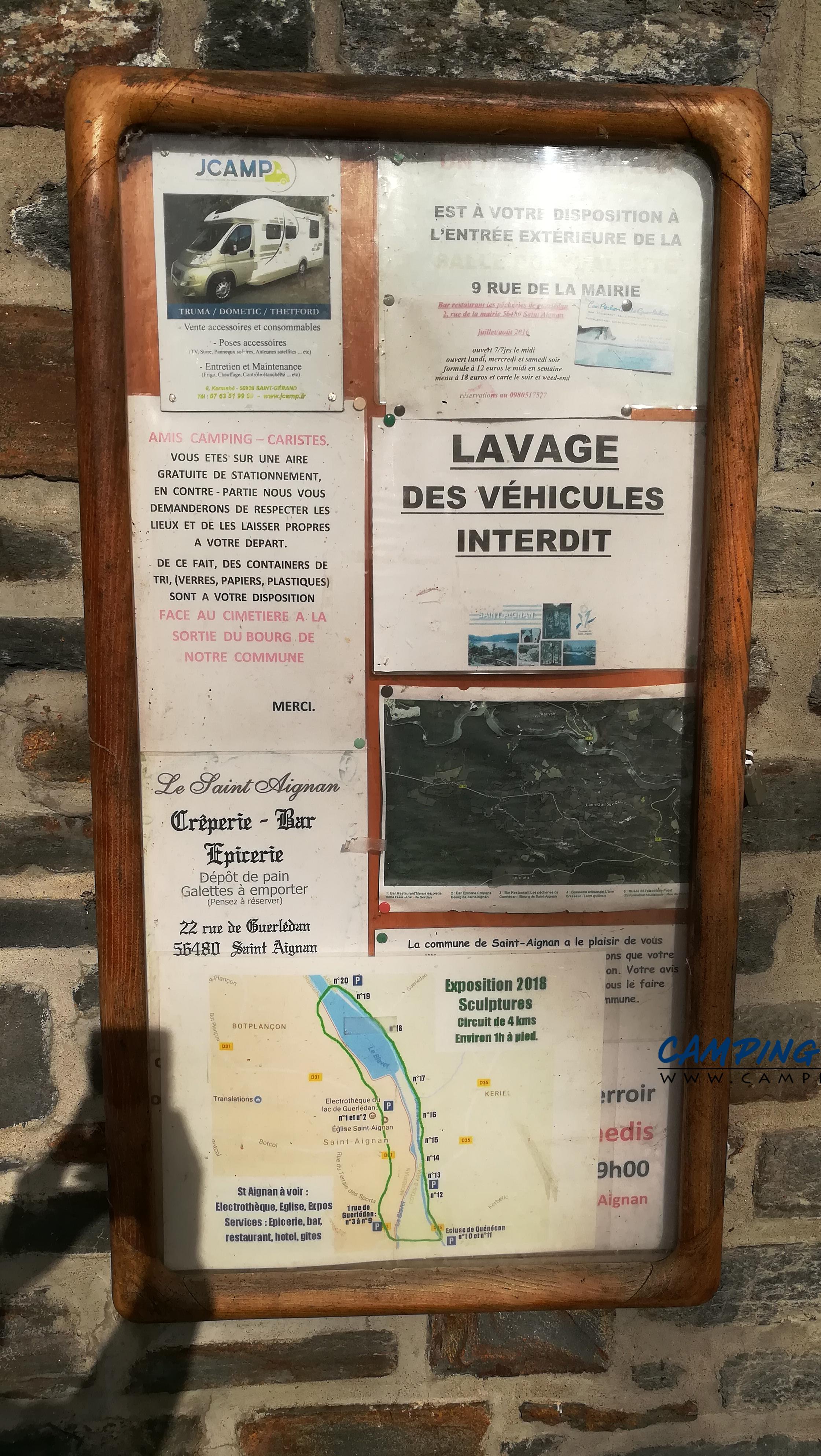 aire services camping car Saint-Aignan Morbihan Bretagne