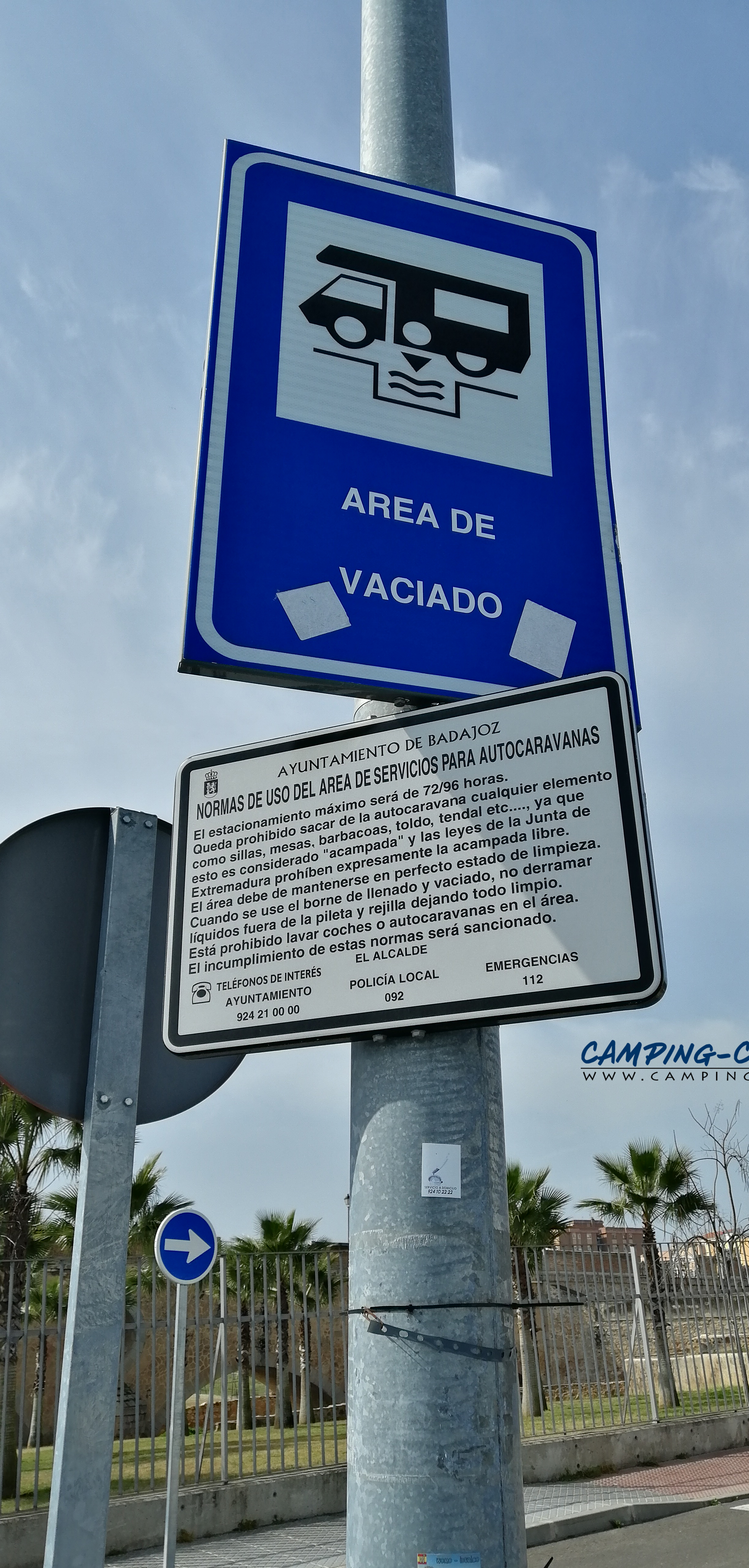aire services camping car Badajos Espagne Spain