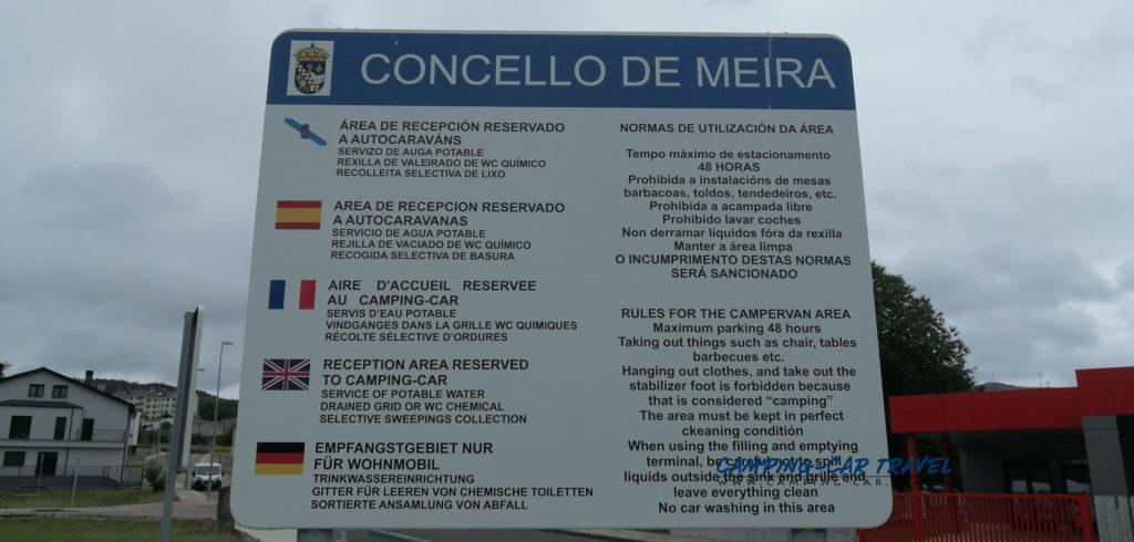 aire de services camping car meira espagne galice
