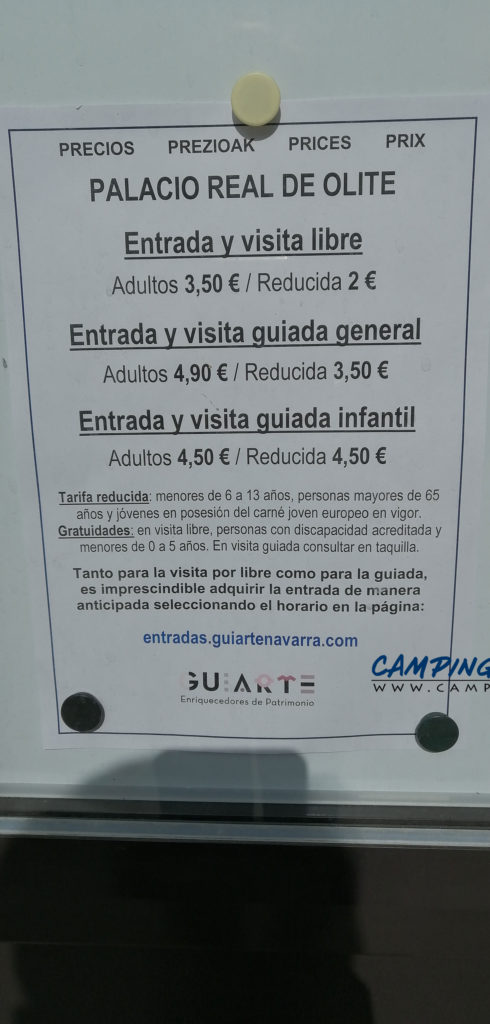 aire services camping cars Olite Navarre Espagne